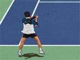 Blue-Green Cement Tennis Game Court